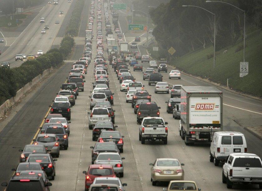 Northbound Interstate 5 traffic in Oceanside, near the California Street bridge, one morning in 2011.