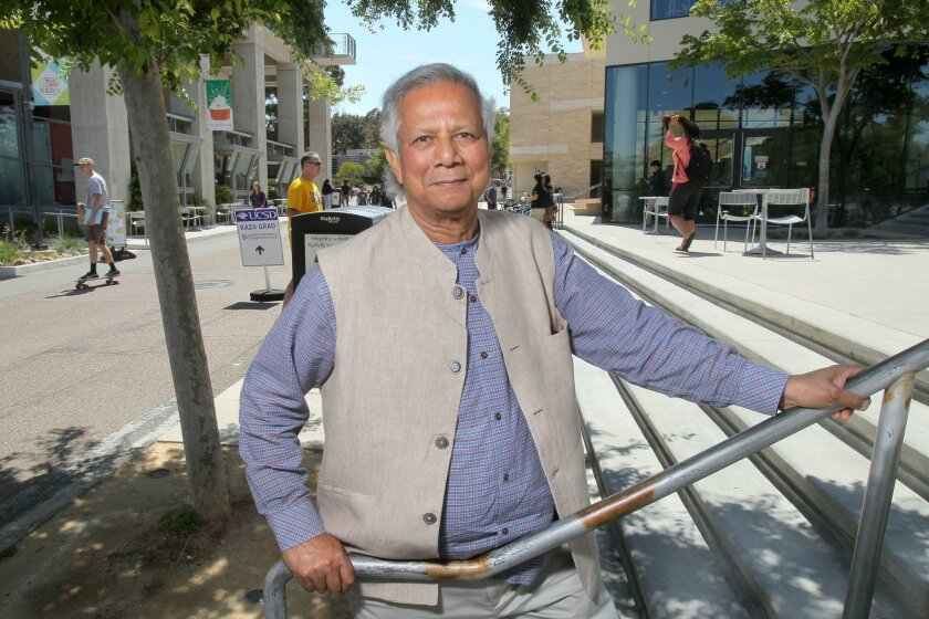 Nobel Peace Prize laureate and Grameen Bank founder Muhammad Yunus, shown on campus at UC San Diego, was the keynote speaker in the all-university commencement ceremony at the school Saturday.