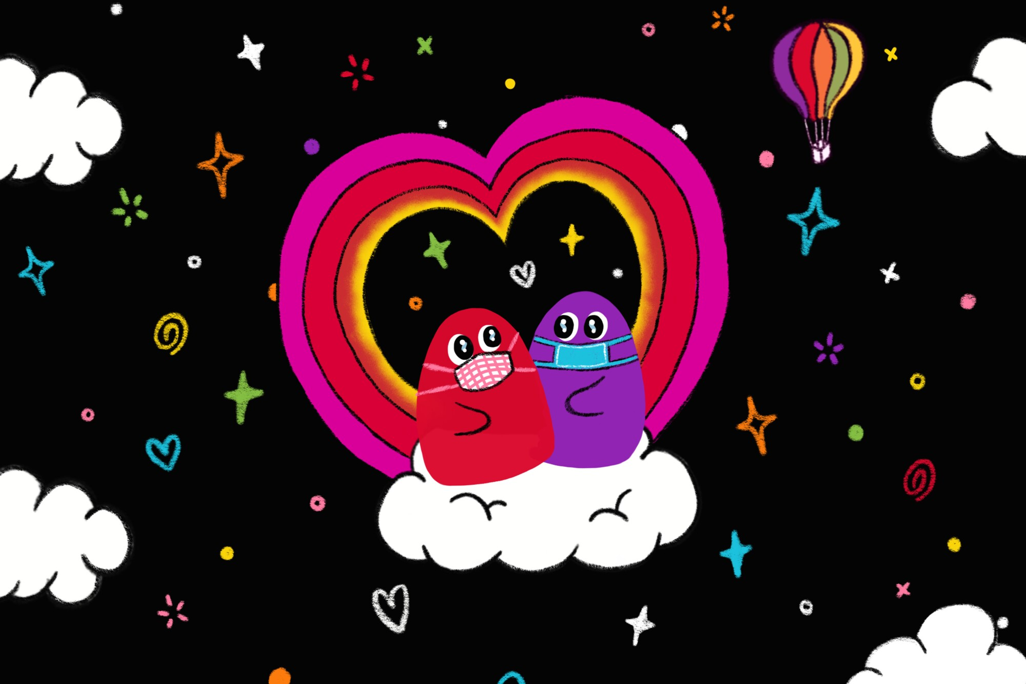 An illustration of two blobs wearing masks, sitting on a cloud in front of a rainbow heart