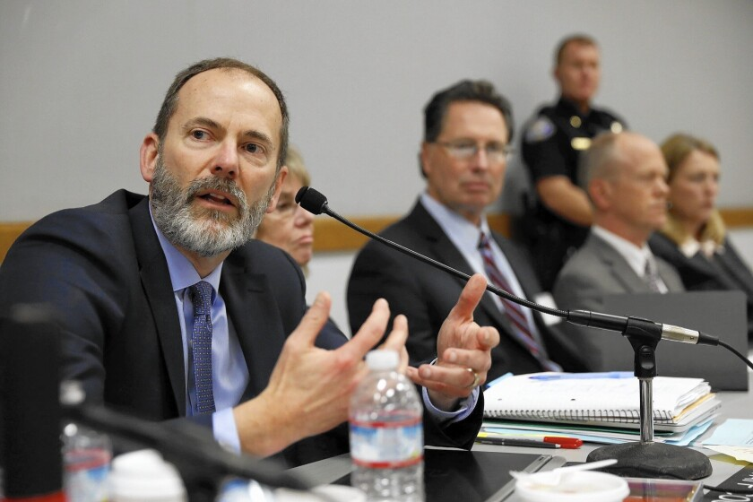Charles Lester at the Coastal Commission meeting on Feb. 10, when he was fired as executive director.