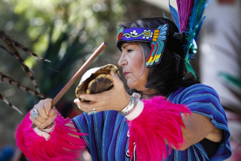 Beatrice Aguilar performs with Danza Mexi'cayotl of The Mexi'cayotl Indio Cultural Center as The Joe and Vi Jacobs Center.