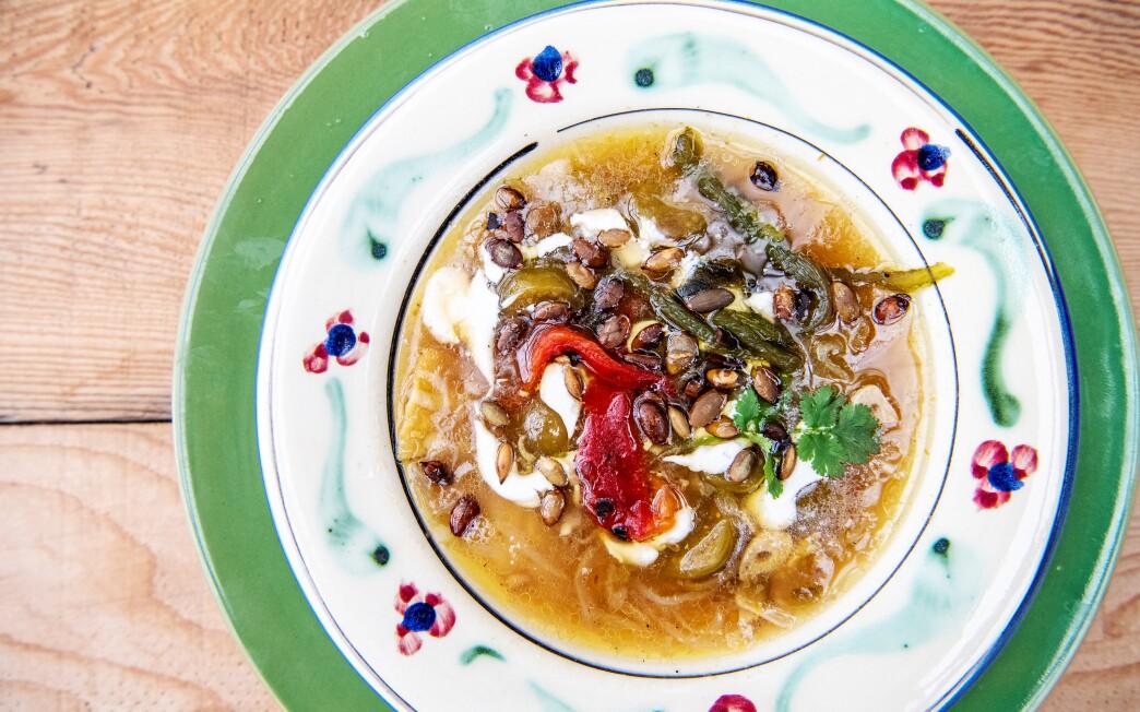 Sally Schmitt's famous Tomatillo Tortilla Soup.