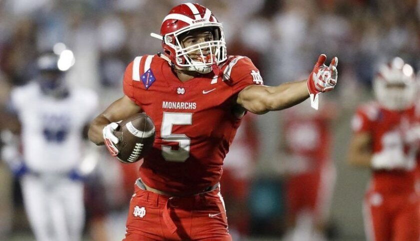 Mater Dei receiver Bru McCoy finished with 77 receptions for 1,428 yards and 18 touchdowns. He also
