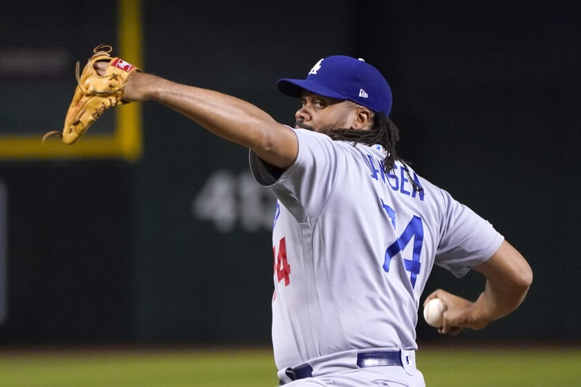 Dodgers reliever Kenley Jansen pitches in the eighth inning Aug. 31, 2019.