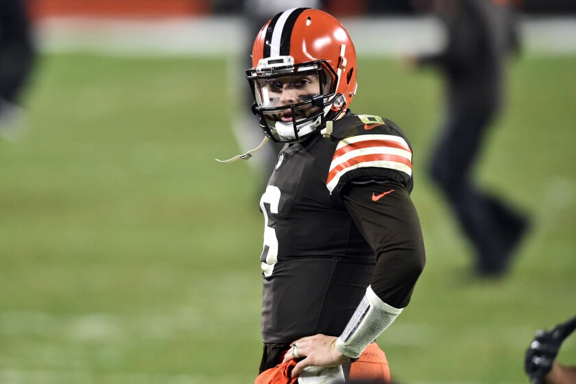 Cleveland Browns quarterback Baker Mayfield reacts after the Baltimore Ravens defeated the Browns 47-42 during an NFL football game, Monday, Dec. 14, 2020, in Cleveland. (AP Photo/David Richard)