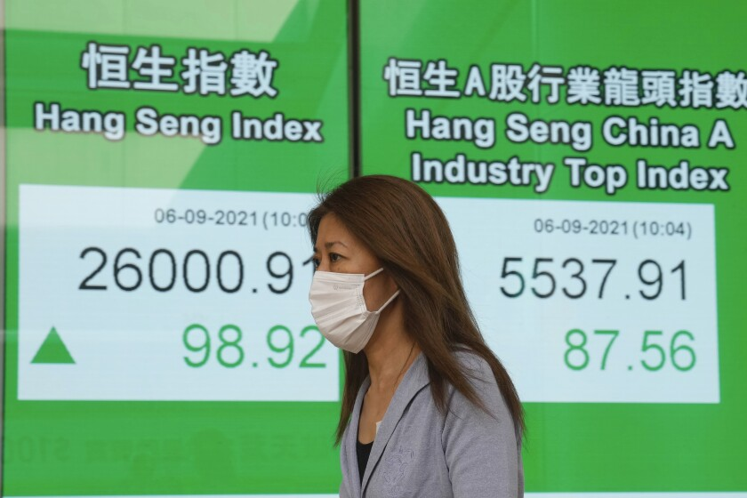 A woman wearing a face mask walks past a bank's electronic board showing the Hong Kong share index in Hong Kong, Monday, Sept. 6, 2021. Asian stock markets rose Monday after weak U.S. hiring in August fueled expectations the Federal Reserve might postpone withdrawal of economic stimulus that has boosted stock prices. (AP Photo/Kin Cheung)