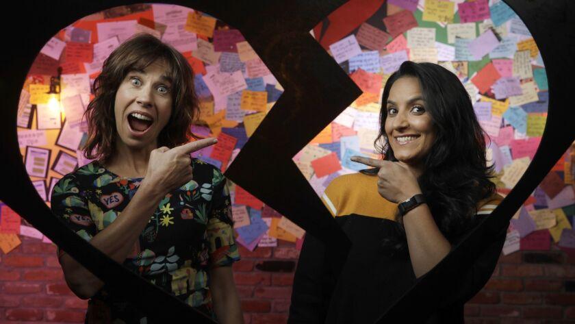 LOS ANGELES, CA -- FEBRUARY 15, 2018: New Zealander duo Jackie van Beek, left, and Madeleine Sami wr