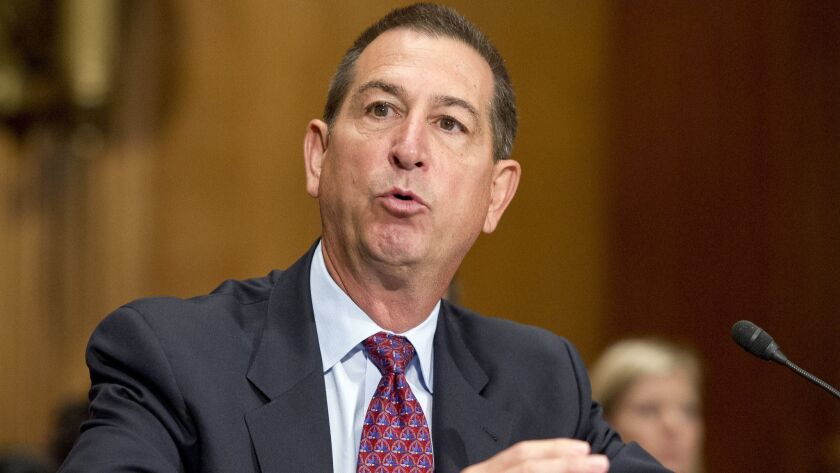Joseph Otting testifies before the Senate Banking Committee in Washington on July 27, 2017, at his confirmation hearing for comptroller of the currency.