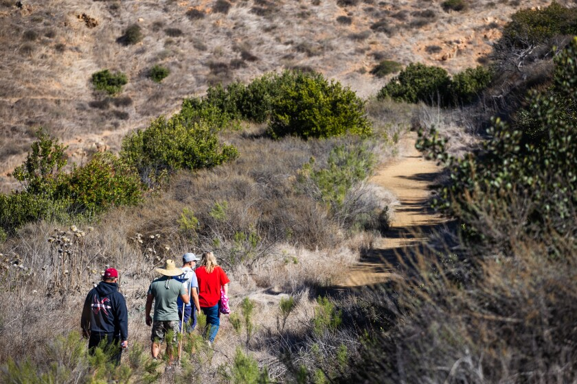 Four people walk a trail at Mother Miguel Mountain