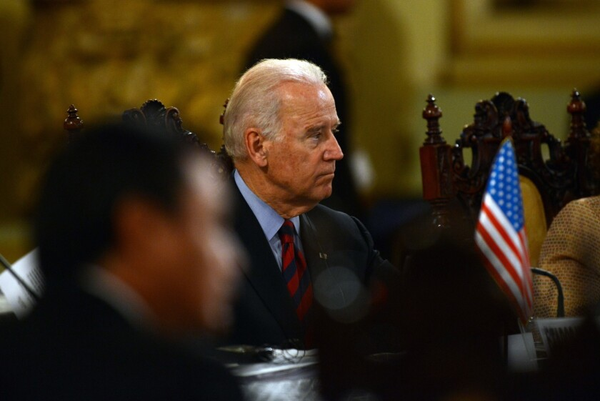 Vice President Joe Biden attends a bilateral meeting at the Culture Palace in Guatemala City to develop proposals to stem the flow of unlawful migration to the U.S.