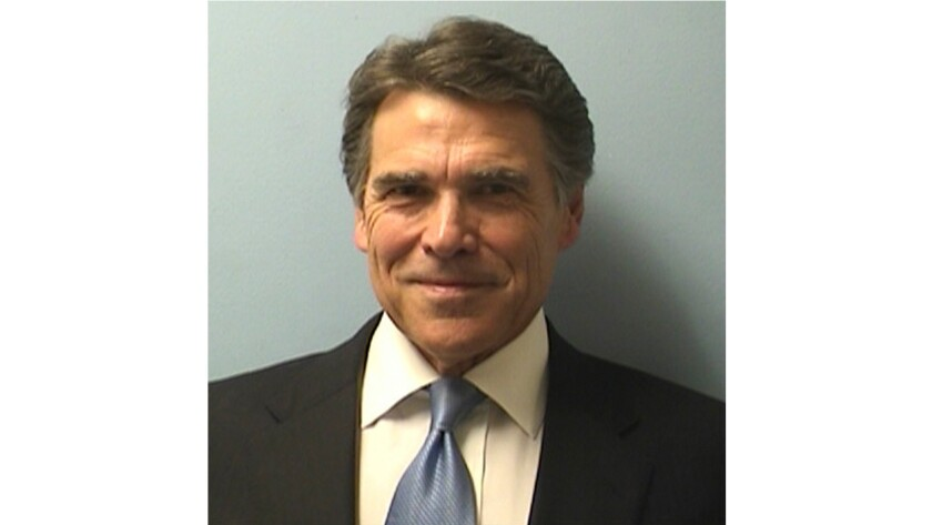 Shown is Texas Gov. Rick Perry's mug shot after he was booked on abuse of power charges Tuesday in Austin.