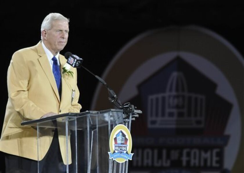 Hall of Fame inductee Bill Parcells speaks during the induction ceremony at the Pro Football Hall of Fame Saturday, Aug. 3, 2013, in Canton, Ohio. (AP Photo/David Richard)