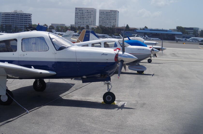 Private planes parked at John Wayne Airport.
