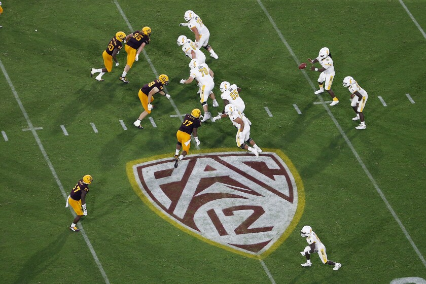 The Pac-12 logo during a football game between Arizona State and Kent State, in Tempe, Ariz.