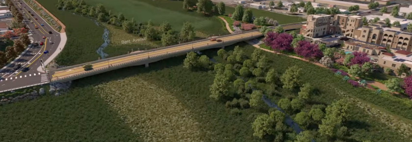 Rendering of the Bent Avenue bridge planned for the San Marcos Creek District.