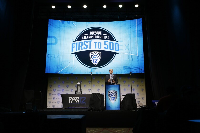 Pac-12 Commissioner Larry Scott at Pac-12 Football Media Days in the Ray Dolby Ballroom at Hollywood & Highland Center in Los Angeles.