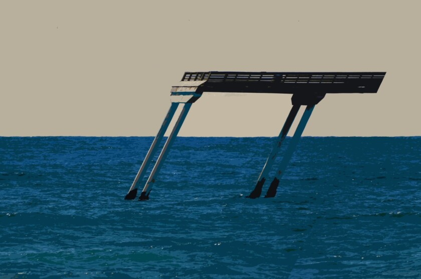 """""""Pier Pressure,"""" a photo taken in Ocean Beach and digitally altered by John Thomas Wood, is part of his photo book """"Imagine."""""""