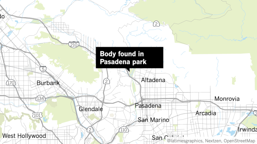 Map showing the location where a woman's body was discovered at a park in Pasadena.