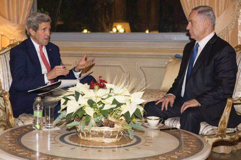 Secretary of State John Kerry meets with Israel Prime Minister Benjamin Netanyahu at Villa Taverna, Rome, on Monday.