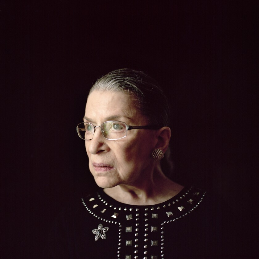 Justice Ruth Bader Ginsburg, in her chambers at the Supreme Court in Washington, August 23, 2013.