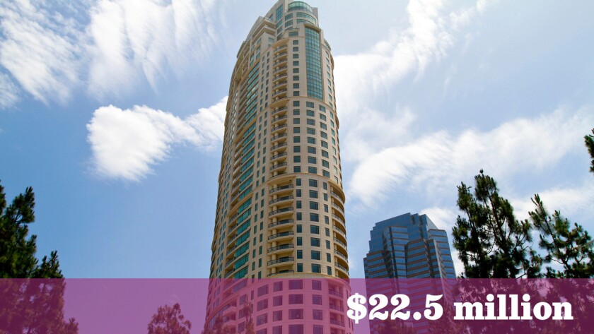 A Century City condominium that sold last week for $22.5 million was among the priciest residential real estate sales in the greater Los Angeles area last week.