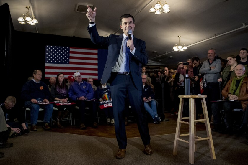 Democratic presidential candidate Pete Buttigieg speaks at a campaign stop at the American Legion hall in Merrimack, N.H., on Thursday.