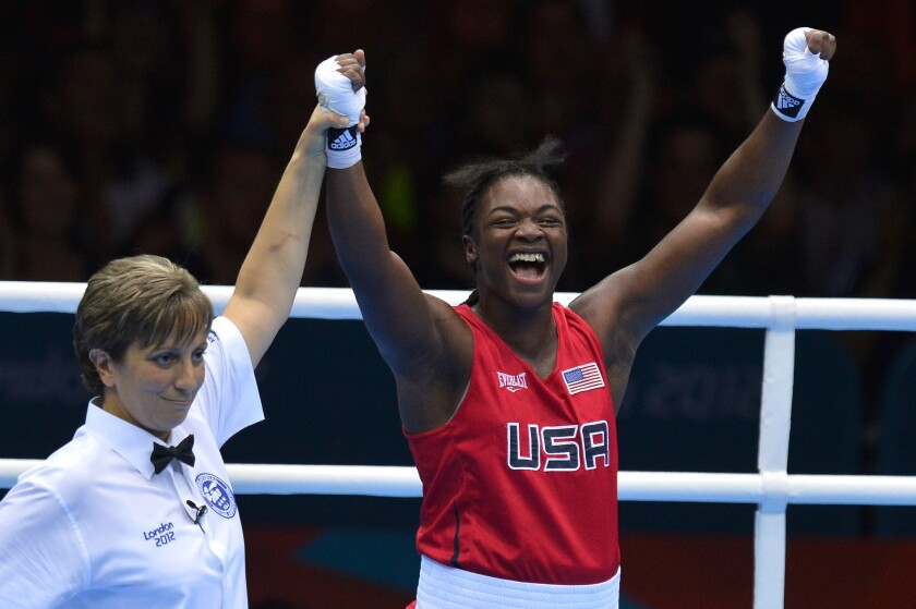 Claressa Shields, shown celebrating her gold medal at the 2012 London Olympic Games.