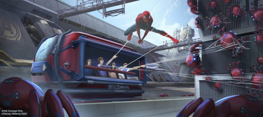 This artist rendering released by Disneyland Resort shows a concept for the Spider-Man Adventure attraction in Avengers Campus at Disney California Adventure Park in Anaheim, Calif. The attraction will allow guests to put their web-slinging skills to the test as they team up with Spider-Man to capture his out-of-control Spider-Bots before they wreak havoc on the Campus. The Avengers Campus opens summer 2020. (Disneyland Resort via AP)
