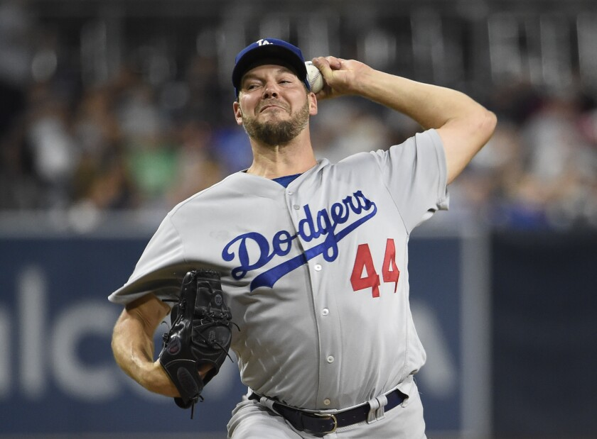 Dodgers starter Rich Hill delivers during the first inning Tuesday.