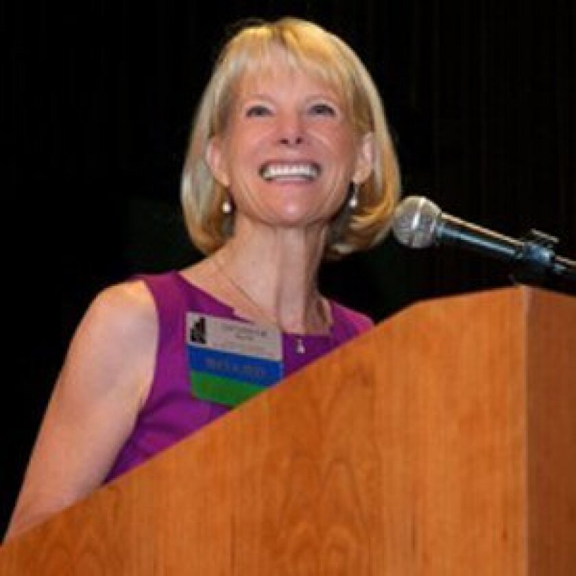 Catherine Blair introduces grant recipients at the 2012 San Diego Women's Foundation Grants Celebration. Courtesy photo