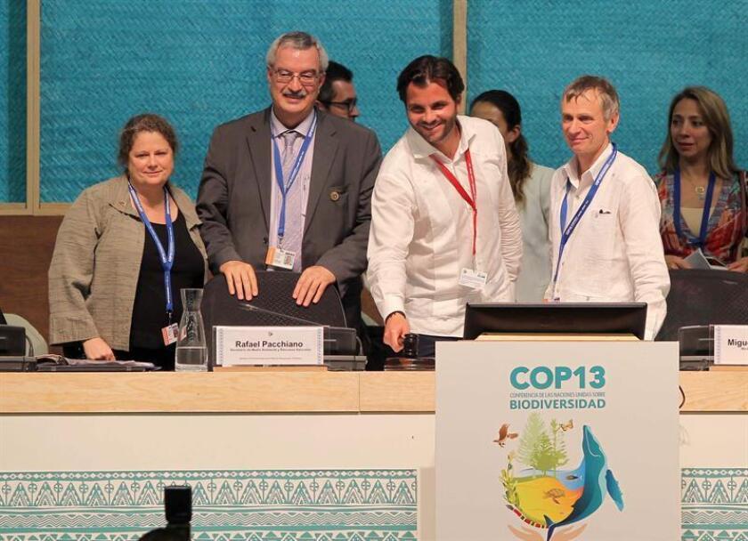 Desde la izquierda, la secretaría de la Convención sobre Diversidad Biológica (CDB), Amy Ann Fraenkel; el secretario ejecutivo de la CDB, Braulio Ferreira de Souza Dias, el secretario mexicano de Medio Ambiente, Pacchiano Alamán, y el subsecretario ejecutivo de la CDB, David Cooper, participan en una ceremonia de la XIII Conferencia de las Partes del Convenio sobre Diversidad Biológica (COP13) hoy, sábado 3 de diciembre de 2016, en Cancún (México). EFE