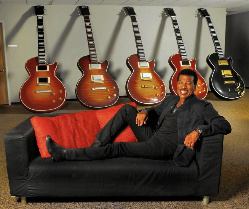 Lionel Richie at the Gibson guitar showroom in Beverly Hills on April 13, 2016.