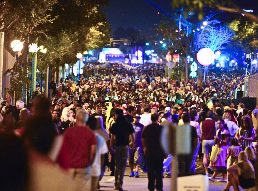 Tens of thousands of attendees crowd Santa Monica Blvd for the 2015 West Hollywood Halloween Carnival.