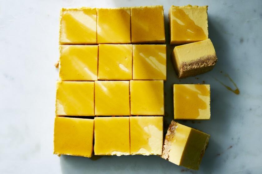 Cantaloupe and honeydew cheesecake bars.