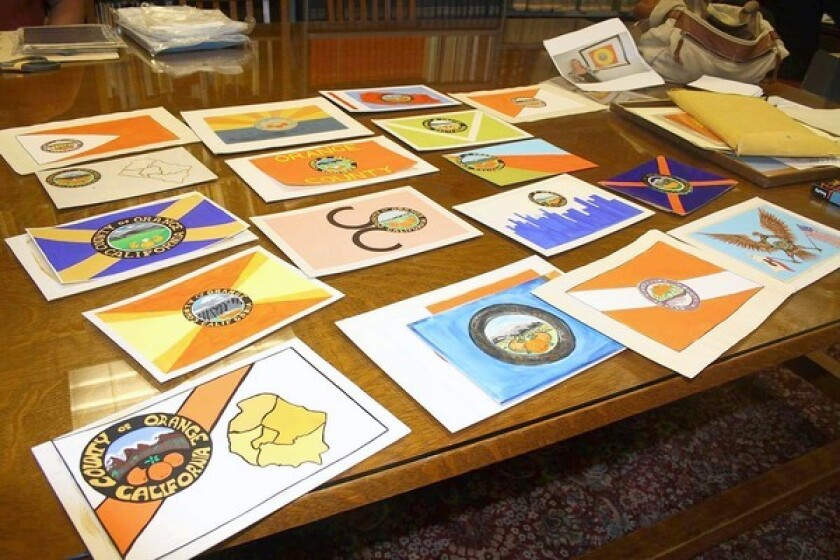 Various designs that were submitted to be the official seal of Orange County.