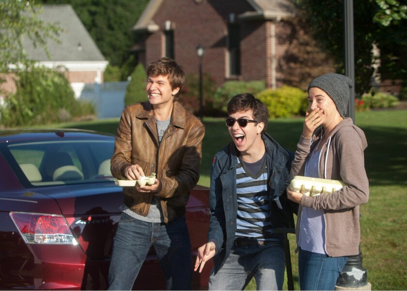 """This image released by 20th Century Fox shows Ansel Elgort, from left, Nat Wolff, and Shailene Woodley appear in a scene from """"The Fault In Our Stars."""" (AP Photo/20th Century Fox, James Bridges)"""