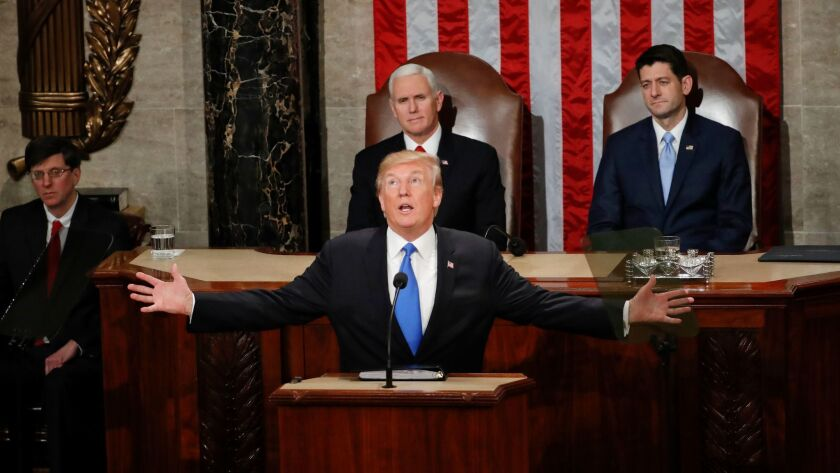 President Donald Trump addresses a joint session of Congress on Capitol Hill on Jan. 30.
