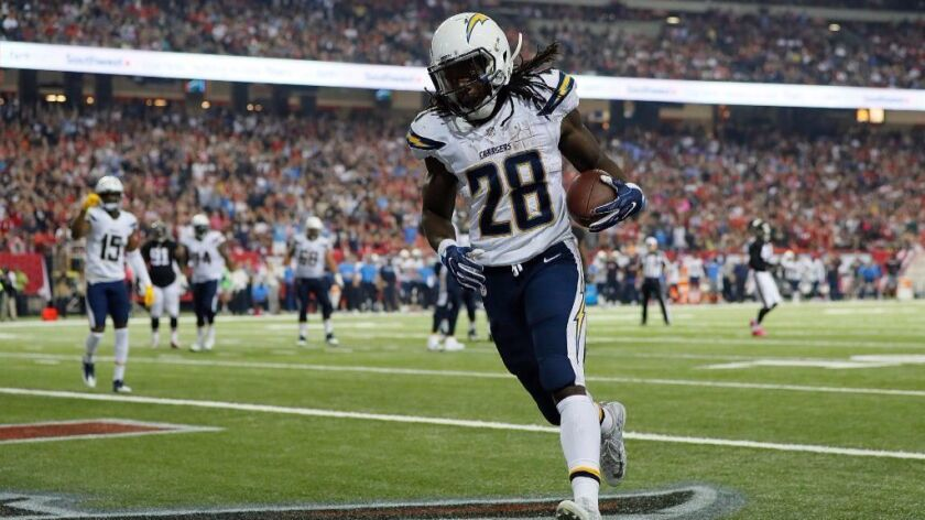 Chargers running back Melvin Gordon trots into the end zone for a touchdown against the Falcons during a game on Oct. 23.