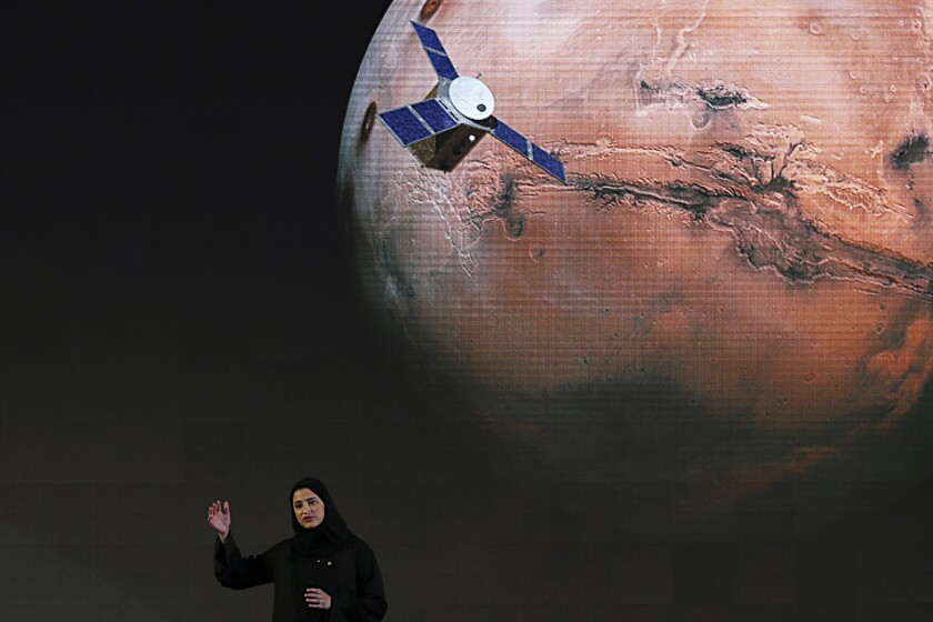 Sarah Amiri, deputy project manager of the United Arab Emirates Mars mission, talks about the project in May 2015.