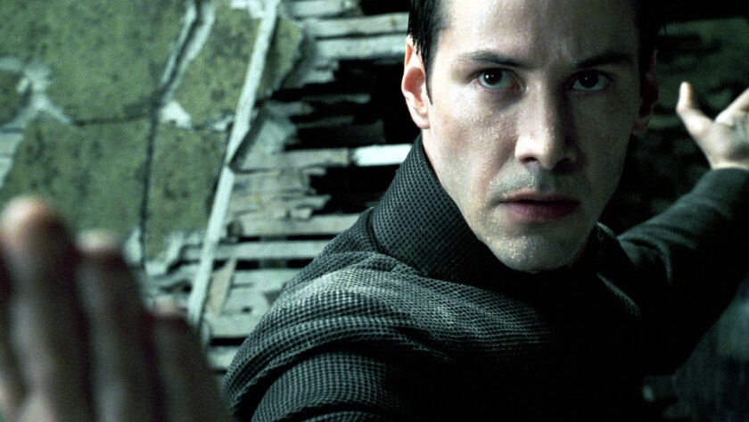 "Keanu Reeves as Neo in ""The Matrix."""