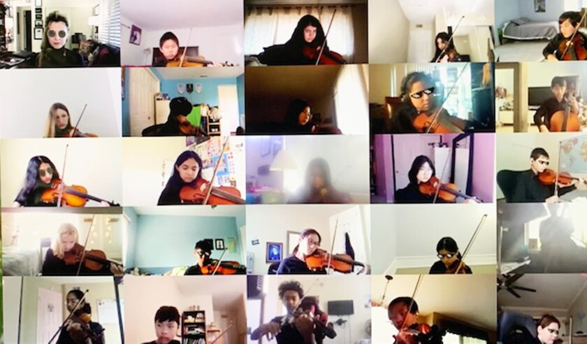 The Bernardo Heights Middle School advanced orchestra rehearsing over Zoom.