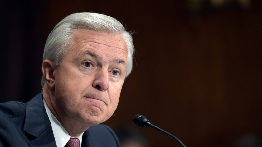 Wells Fargo CEO John Stumpf at last week's Senate hearing, at which he refused to disavow the bank's strategy of forcing victims of its alleged frauds into arbitration.