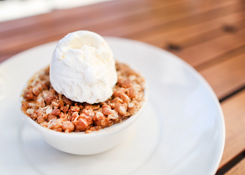 Mom's Deep Dish peach cobbler from Wood Ranch BBQ & Grill.