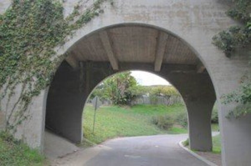 This concrete bridge at Al Bahr and Crespo drives (near La Jolla Natural Park) is one of the items deemed worthy of preservation in a La Jolla Historic Cultural Landscape Survey completed in 2003. Pat Sherman photos