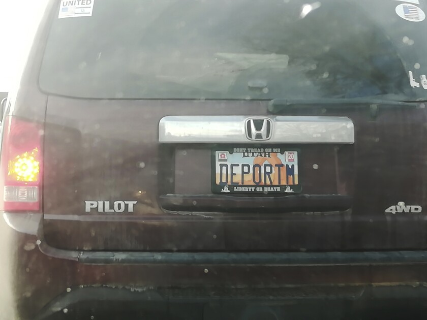 """This undated photo provided by Matt Pacenza shows a license plate on a vehicle. Utah lawmakers want to know how a license plate with the phrase """"DEPORTM"""" got approved despite state rules against expressing contempt for any race, religion or political opinion on vanity plates. (Matt Pacenza via AP)"""