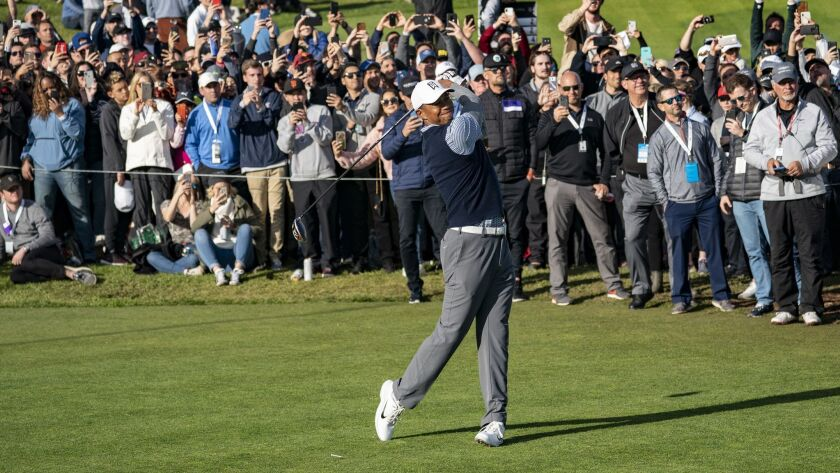 PACIFIC PALISADES, CA - FEBRUARY 16, 2019: A large gallery follows Tiger Woods as he hits his tee sh