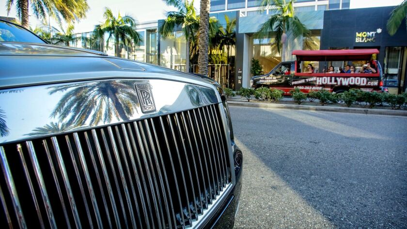 A Rolls Royce on Rodeo Drive in Beverly Hills in 2013.