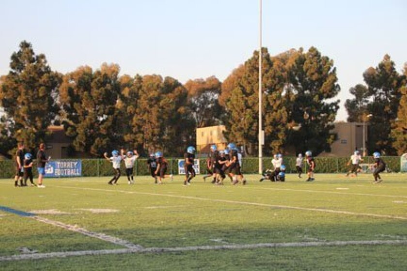 La Jolla Pop Warner started its first day in full pads Monday at La Jolla Country Day School. Phil Dailey