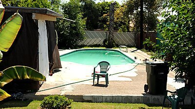 A view of the swimming pool at the Rialto home of Rodney King, who was found dead Sunday. His death is being investigated as a possible drowning, authorities said.