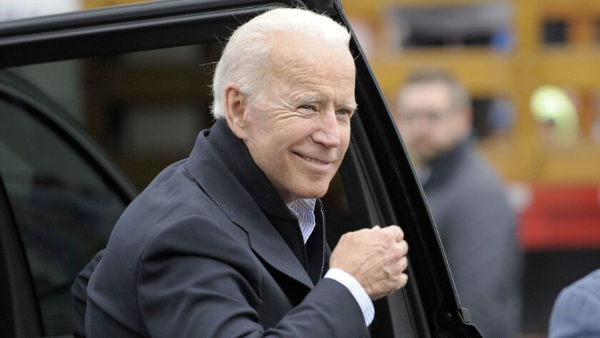 Former Vice President Joe Biden visits Dorchester, Mass., on April 18.